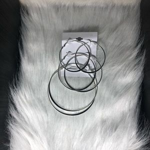 Silver hoop earrings multipack NWT